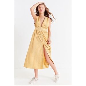 Urban Outfitters yellow plunge midi dress!